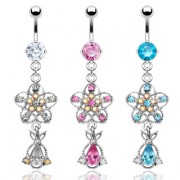 Piercing nombril chandelier fleuri