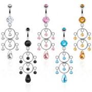 Piercing nombril chandelier perlé à anneaux superposés