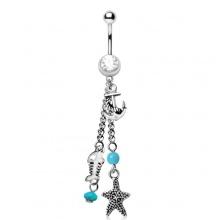 Piercing nombril charms marins à perles bleues