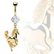 Piercing nombril cheval en saut plaqué or serti