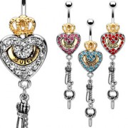 Piercing nombril clé de coeur royal
