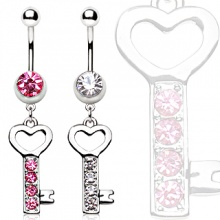 Piercing nombril clef de coeur strass