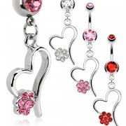 Piercing nombril coeur ajourée avec fleur pavée de pierres