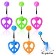 Piercing nombril coeur articulé Paix et Amour