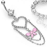 Piercing nombril coeur chaines et noeud rose