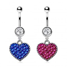 Piercing nombril coeur de cristal