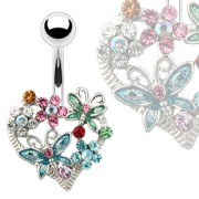 Piercing nombril coeur de fleurs et papillons