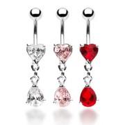 Piercing nombril coeur et goutte de pierre