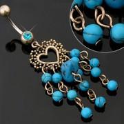 Piercing nombril coeur et perles de Turquoise