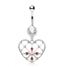 Piercing nombril coeur fleuri style rétro