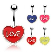 "Piercing nombril coeur ""Love"""