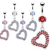 Piercing nombril coeur ouvert pavé de pierres