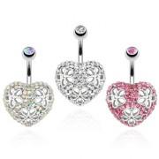 Piercing nombril coeur pavé de pierre avec trio de fleurs