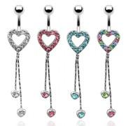 Piercing nombril coeur pavé et pendents