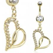 Piercing nombril coeur plaqué or pavé à demi de pierres