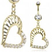 Piercing nombril coeur plaqué or rainuré et pavé de pierres