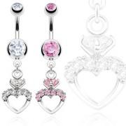 Piercing nombril coeur royal surmonté d'une pierre style solitaire
