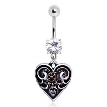 Piercing nombril coeur Steampunk