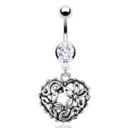 Piercing nombril coeur vintage fleuri