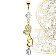 Piercing nombril coeurs dorés éclatants