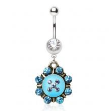Piercing nombril compas nautique à pierres bleues