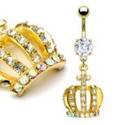 Piercing nombril couronne dorée