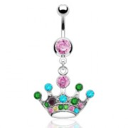 Piercing nombril couronne multicolors