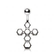 Piercing nombril croix formée d'éxagones