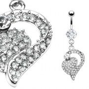 Piercing nombril coeur ajouré pavé de pierres