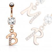 Piercing nombril cuivré à lettre alphabet avec strass