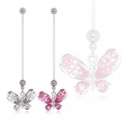 Piercing nombril de grossesse à papillon strass