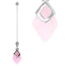 Piercing nombril de grossesse à quartz rose