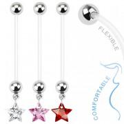 Piercing nombril de grossesse avec étoile zircon