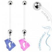 Piercing nombril de grossesse avec paire de pieds