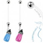 Piercing nombril de grossesse avec pendentif biberon