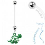 Piercing nombril de grossesse avec tortue verte et blanche