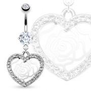 Piercing nombril dentelle de rose et coeur serti