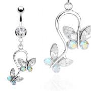Piercing nombril deux papillons reliés sertis