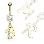 Piercing nombril doré à lettre alphabet avec strass