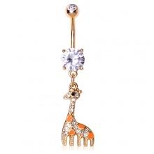 Piercing nombril doré à pendentif girafe