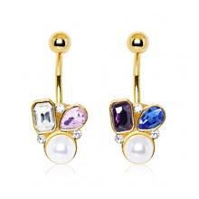 Piercing nombril doré à perle et pierres