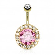 Piercing nombril doré à pierre rose cerclée de pierres claires