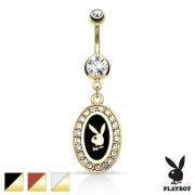 Piercing nombril doré à portrait lapin Playboy sur cadre oval