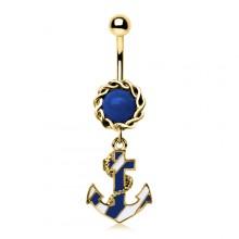 Piercing nombril doré à ancre de marine blanche et bleue