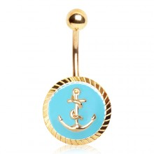 Piercing nombril doré à ancre marine sur fond bleu