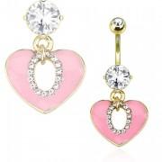 Piercing nombril doré avec coeur rose ajouré et serti