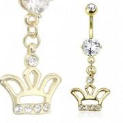 Piercing nombril doré avec couronne sertie de pierres claires