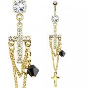 Piercing nombril doré avec croix, chaines et breloques