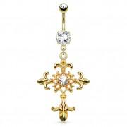 Piercing nombril doré avec croix sertie à fleurs de Lys