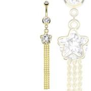 Piercing nombril doré avec étoile, pierre et triple-chaine